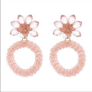 NWT Kate Spade pink flower hoops earrings